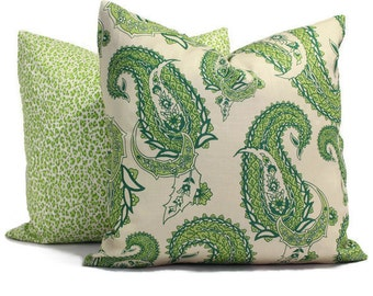 Pasha Paisley Greens on Tint, China Seas Quadrille Square, Eurosham or Lumbar pillow Accent Pillow, Throw Pillow, Toss Pillow, China Seas