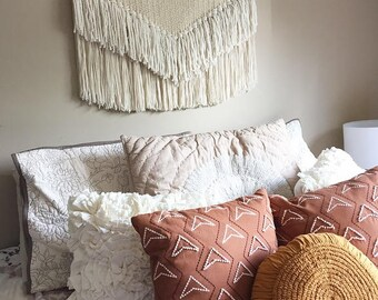 large woven wall hanging, weaving, large weaving, yarn wall hanging, bohemian tapestry, yarn tapestry, woven wall art, woven wall decor