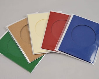 Tri-fold card blank and envelope, 64mm circular aperture