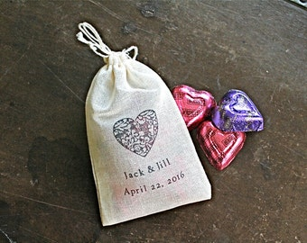 Wedding favor bags, set of 50 personalized cotton favor bags, damask heart with custom names and date, hand stamped favor bags, shower favor