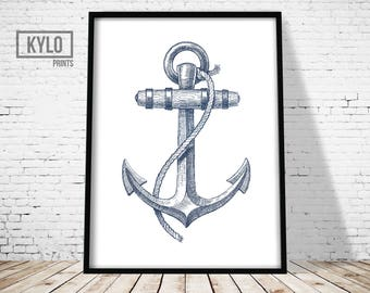Nautical Print, Nautical Poster, Nautical Illustration, Anchor Print, Anchor Art, Sailing Print, Ocean Print, Anchor Illustration, Sea Print