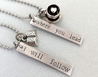 Double Sided Where You Lead I Will Follow Necklace, Set of Necklace, Gilmore Girls, Mother Daughter Necklace, Hand Stamped, Coffee and Book