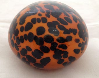 Brownish Orange and Black Leopard Print Heavy Glass Paperweight