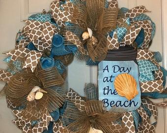 Beach Wreath, Seashell Wreath, Door Wreath