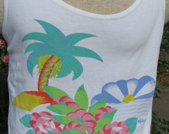 Vintage 80's Dolfin Tank Top Island Palm Tree Sunrise Sunset Colorful Size Medium M