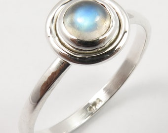 blue moonstone ring sterling silver Jewelry, statement ring best gift for women girls All US Ring Size Choose, 5 mm Round Cabochon Stone