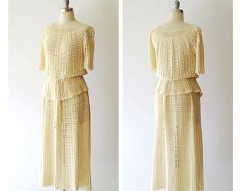 vintage 1970s crochet dress set / size medium large