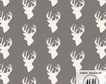 Deer Head Fabric | Elk Fabric Silhouette | Decor Fabric | Nursery Fabric | Winter Gray Woodland Cabin Print by the Yard & Fat Quarter