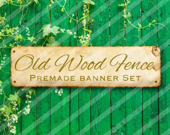"""Shop banner - Shop banner Set - Etsy shop banner set - Graphic banners - Banners - """"Old Wood Fence"""""""