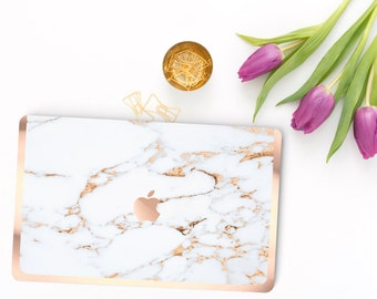 Macbook Pro 13 Case . Bianco Sivec Marble Rose Gold Veins . Macbook Air Case . Laptop Case . Macbook Case . Rose Gold Chrome Detailing