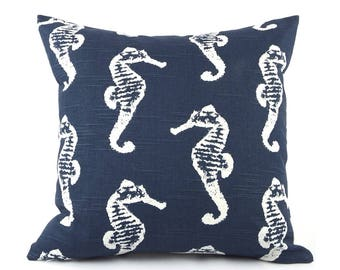 """CLEARANCE Navy Blue and White Coastal Pillow Cover 18x18"""", Seahorses and Anchors, Throw Pillow, Accent Pillow, Nautical Pillow, Wonders"""
