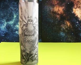 """Odin ϟ 8"""" Altar Candle - Norse Mythology - meditation - channeling - worship - handmade"""