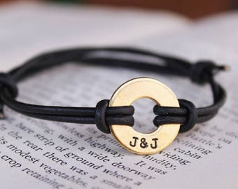 Custom Washer Bracelet, Couples Bracelet, Personalized Bracelet, Handstamped Cuff Bracelet, Adjustable Bracelet, Anniversary Gift, Unisex
