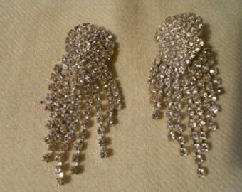 Vintage fringed rhinestone clip earrings