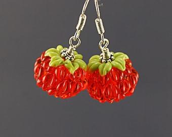Raspberry earrings, Glass lampwork earrings, flower earrings ,floral earrings , silver earrings ,artisan lampwork earrings , gift for her