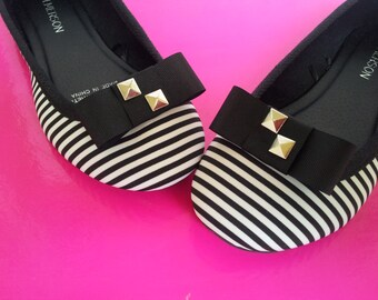 Black Grosgrain Dior with Studs Shoe Clips FREE SHIPPING