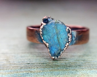 Raw Labradorite and Copper Electroformed Ring | Size 7