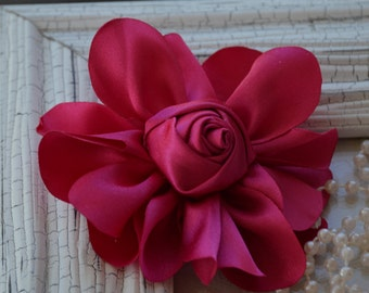 """Satin Fabric Roses, Rolled Rosettes, Hot Pink Satin Rolled Rosettes, 3"""" Satin Roses, Rolled Roses, Rolled Satin Roses, A19"""