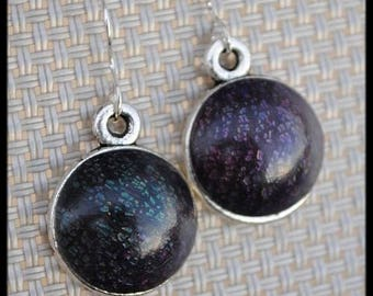 Purple green iridescent earrings in polymer clay