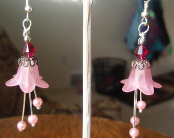 Pink Flower Earrings, Pink Earrings, Flower Earrings, Fuchsia Swarovski Crystal Earrings