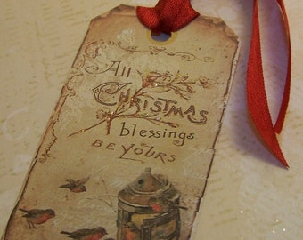 "Christmas Tags Christmas Bird Tags ""All Christmas Blessings be Yours"" Vintage Shabby Style Set of 6 or 9"