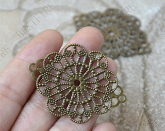 8pcs 35*46mm Antiqued Bronze Brass Filigree Connector,Jewelry Connectors Setting,Connector Finding,Flower Findings,filigree findings