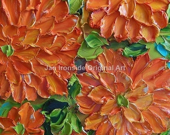 Oil Painting Dahlias , Impasto art, Original Painting , Palette Knife , Jan Ironside