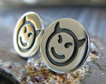 Devil emoji sterling silver stud earrings. Bad girl posts. Funny social media gift. Gag pop culture jewelry. Cute little earrings.