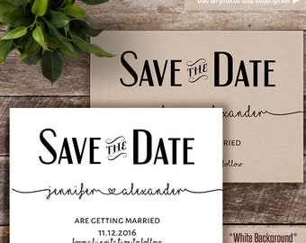 Save the Date, Printable Save the date, Wedding template, Instant download self editable PDF S118