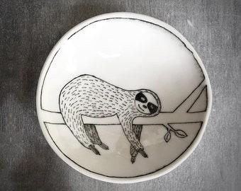 Happy smiling Sloth trinket dish - Doodle Range Plate