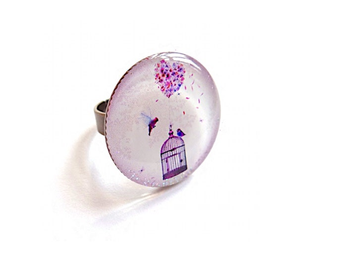 Ring in resin Chacha by Iris (diameter 25mm) - brass - collection La Plume at the ear (CD81)