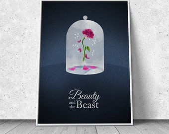 Beauty and the Beast, alternative minimalist movie poster, giclee art print, animated movie poster, Disney inspired
