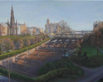 Waverley Station, Princes Street, Edinburgh. Original Painting.