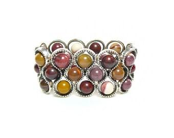 Mookaite bracelet, Gemstone bracelet, Mookaite jewelry, Stretch cuff, Goldenrod bracelet, Gift for her, Beaded cuff, Maroon bracelet