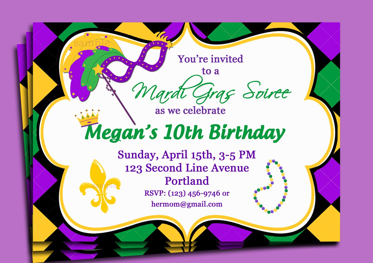Mardi Gra Invitations - Amazing Invitation Template Design by ...