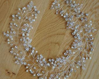 Bridal hair vine Long Wedding hair piece Babys breath headpiece Crystal wedding hair vine Headband Wedding hair accessories Silver ornament
