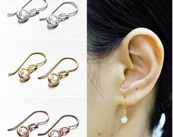 925 Sterling Silver Earrings, Crystal Hook Earrings, Hook Earrings (Code : EY50B)