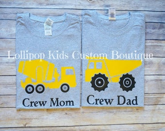Crew Mom or Dad, Cement Truck or Dump Truck Construction site Birthday short sleeve Shirt*