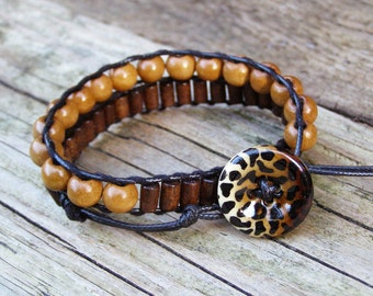 Cheetah bracelet, Wood bead jewelry, Ethnic wrap bracelet, Boho best friend bracelet, Eclectic brown charm, BFF Unisex gift, Wild cat button