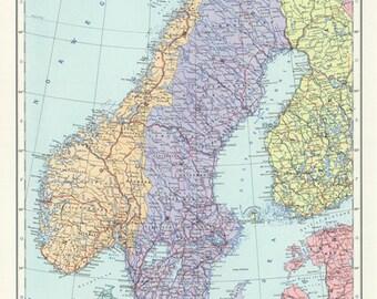 Vintage Sweden, Norway and Denmark map digital-Scandinavia Map printable.Antique Map -Scandinavian Print.High resolution printable map