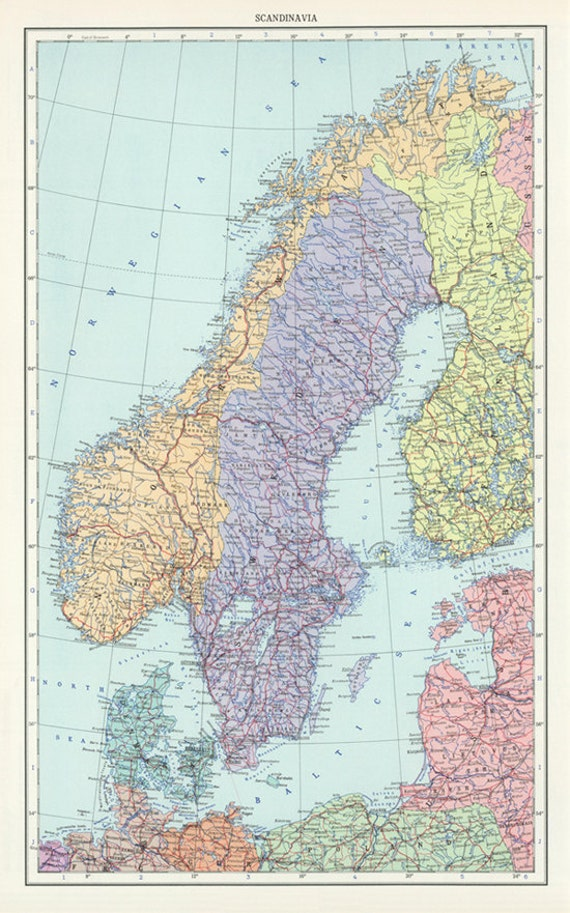 Vintage Sweden Norway and Denmark map digitalScandinavia Map