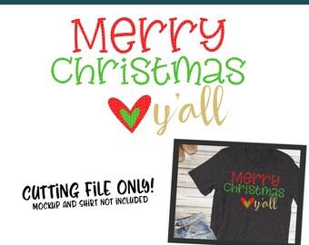 Merry Christmas Yall SVG, PNG Silhouette Cameo and Cricut Files, Christmas Shirt, Winter, Holiday