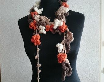 crocheted Wool floral flower garland scarf soft feminine waisted romantic