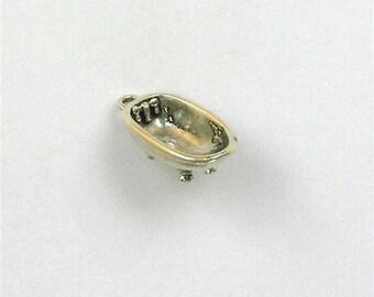 Sterling Silver 3-D Claw Foot Bathtub Charm