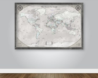 World Map Push Pin Wedding Gift for Couple 10 Year Anniversary Gift for Men Personalize Engagement Unique Outdoor Traveler Gift Explorer Art