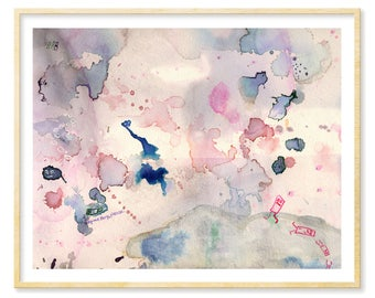 Her Abstract Gift Art, Abstract Watercolor Print, Her Dorm Wall Print, Pastel Pink, Pink and Grey, Ethereal, Rose Quartz Art, 11x14 Print
