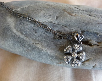 Rhinestone Necklace,Dainty Rhinestone Flower Necklace