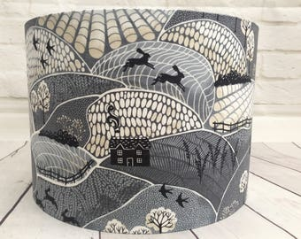Lampshade Countryside fields, grey, hares, birds, fabric, handmade ceiling/table, 30cm or 20cm, rural, countryside, nature lover
