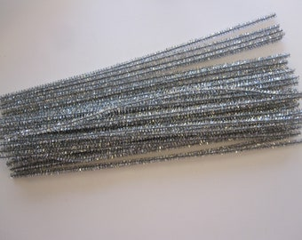 52 TINSEL CHENILLE stems - silver - 12 inches - wired metallic green pipe cleaners