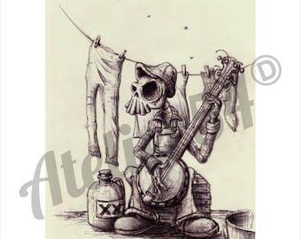 Skull hillbilly. Atelier54. skull poster.